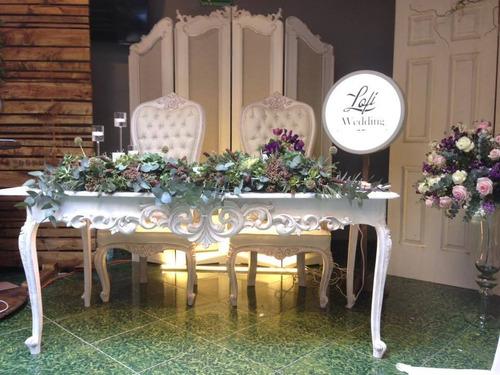 renta de mesa de honor, mesa principal novios bodas vx años