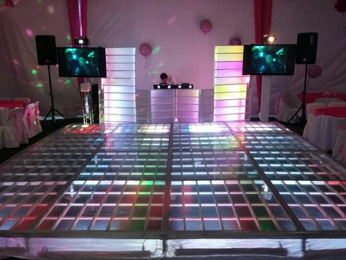 renta de pista iluminada de cristal, dj & mobiliario
