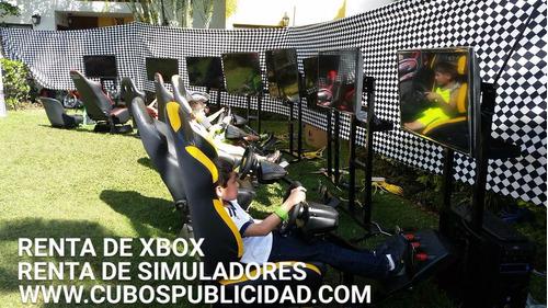 renta de simuladores de carreras, maquinitas xbox wiiu, moto