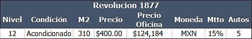 renta - oficina - revolución - 310 m - $124,184