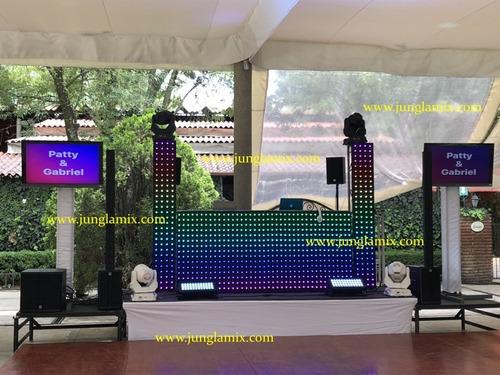 renta pistas de cristal iluminadas periqueras dj audio