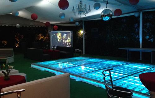 renta pistas de cristal iluminadas periqueras dj audio led