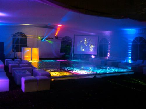 renta salas lounge, periqueras, pista iluminada, dj, karaoke