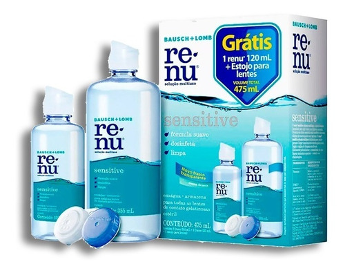 renu  sensitive 355 + 120 ml  + entrega rápida