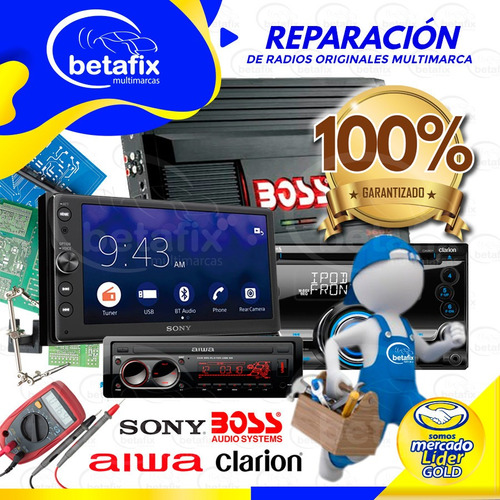 reparacion amplificadores auto radios boss sony clarión aiwa