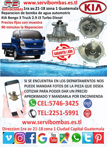 reparación de bomba de agua automotriz kia bongo 3 truck 2.9
