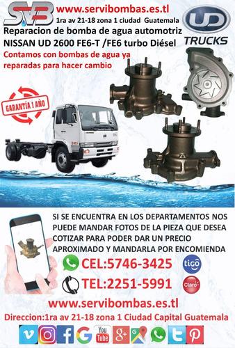 reparación de bomba de agua automotriz nissan ud ne6t, ne6ta