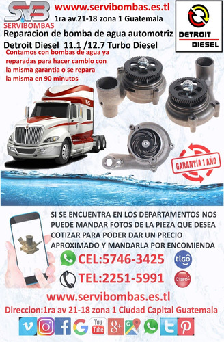 reparación de bomba de agua detroit serie 71 guatemala