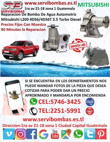 reparación de bomba de agua mitsubishi l200 2.5 sportero