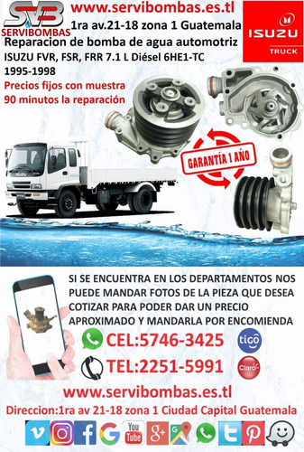 reparación de bombas de agua automotrices isuzu d-max 2.5