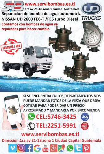 reparación de bombas de agua automotrices nissan ud ne6t