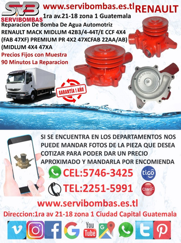 reparación de bombas de agua automotrices renault guatemala