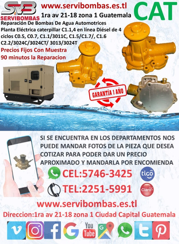 reparación de bombas de agua caterpillar c7,c9 turbo diesel