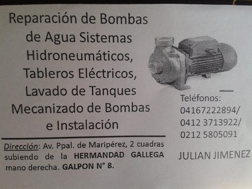 reparación de bombas de agua, hidroneumáticos, tableros, etc