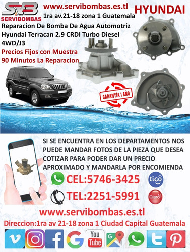 reparación de bombas de agua hyundai county 3.9 d4ga turbo