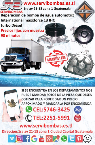 reparación de bombas de agua international dt466,dt360