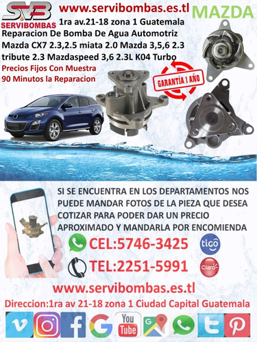 reparación de bombas de agua mazda bt50,pro,protege,cx7,cx9