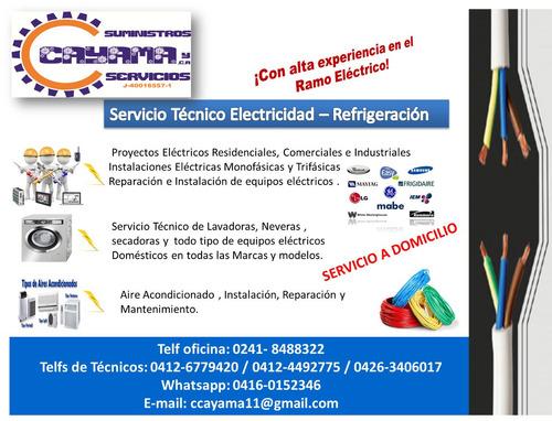 reparación de  electrodomésticos y servicios de electricidad