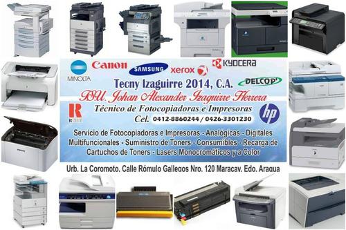 reparación de fotocopiadoras e impresoras y recarga de toner