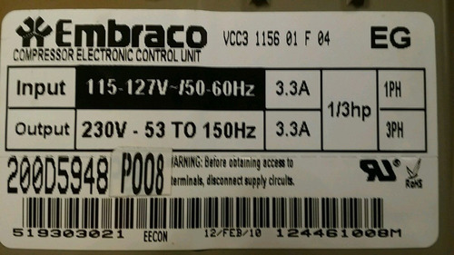 reparacion de tarjetas vcc3 embraco totalmente garantizadas