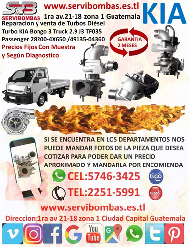 reparación de turbos kia combi,bongo,besta,sorento,guatemala