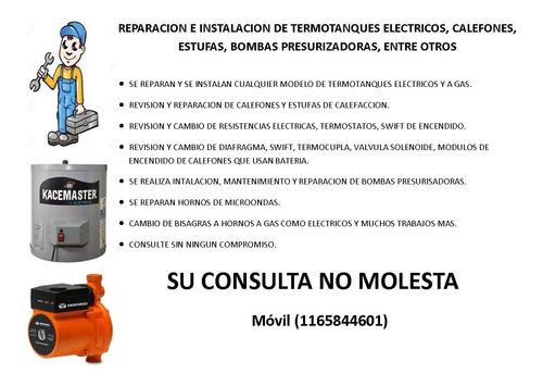 reparación e instalación de termotanques eléctricos.