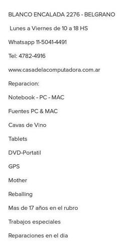 reparación pc & mac notebook auriculares cargadores