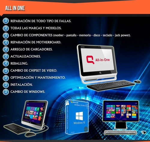 reparacion pcnotebooks netbook -all in one-consola-monitores
