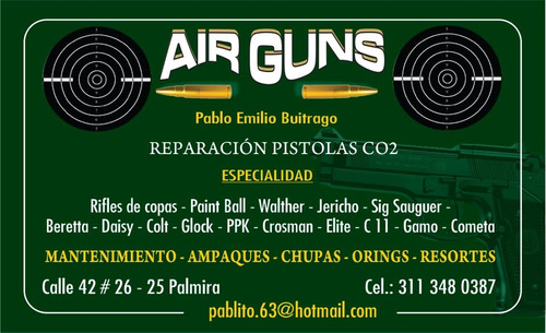 reparacion pistola co2-fogueo-traumatica-rifles-arpones.etc.