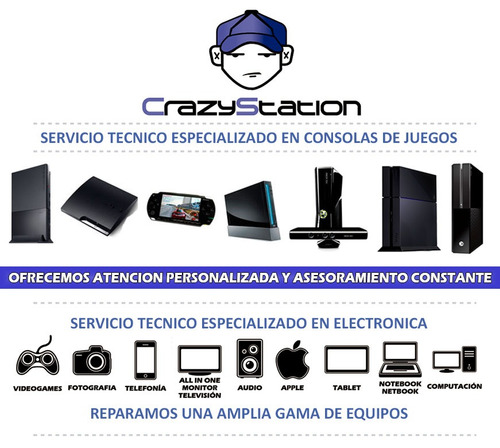 reparacion ps4 ps3 ps2 psp wii xbox360 one - 5 sucursales