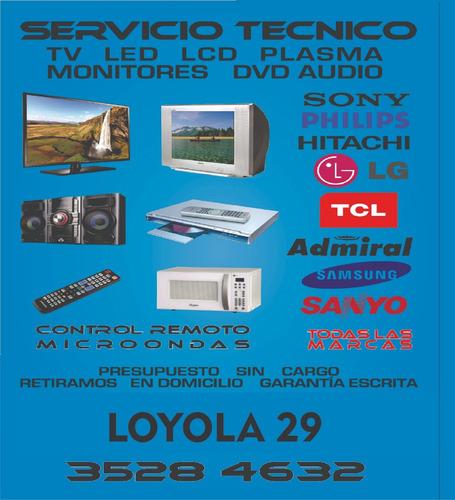 reparacion service de tv  lcd  led monitores dvd audio