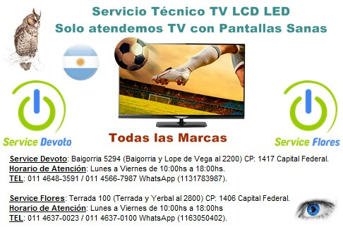 reparación service servicio técnico tv lcd led smart tmarcas