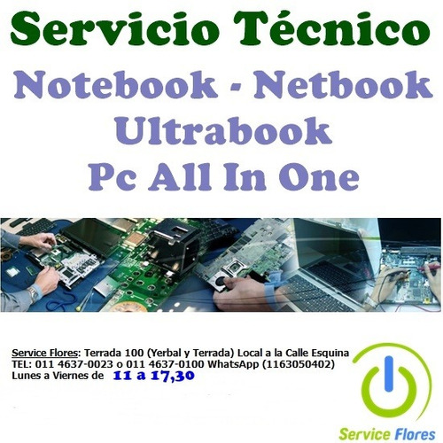 reparación servicio técnico pc all in one notebooks t/marcas