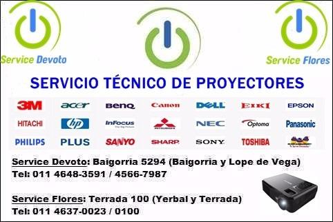 reparación servicio técnico proyectores devoto