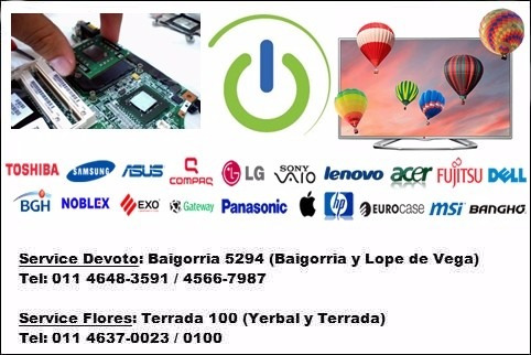 reparación servicio técnico tv led notebook pc all in one