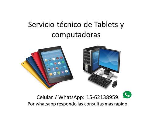 reparacion tablet y pc pantalla formateo windows domicilio