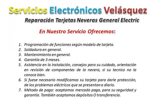 (reparacion) tarjeta nevera general electric 200d4852g016