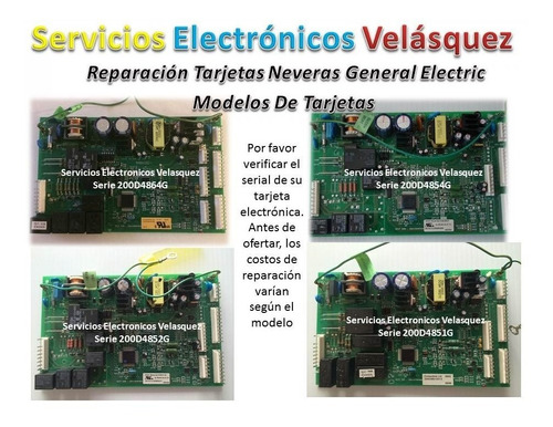 (reparacion) tarjeta nevera general electric 200d6221g010