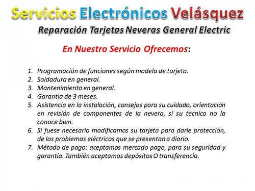reparacion tarjeta nevera general electric wkkt 1304-03-00