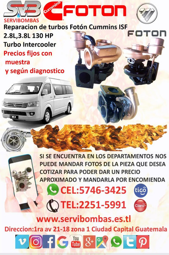 reparacion y venta de turbos para pick up,microbuses etc