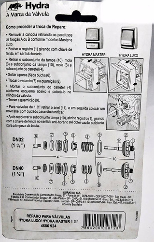 reparo para válvula hydra luxo hydra master