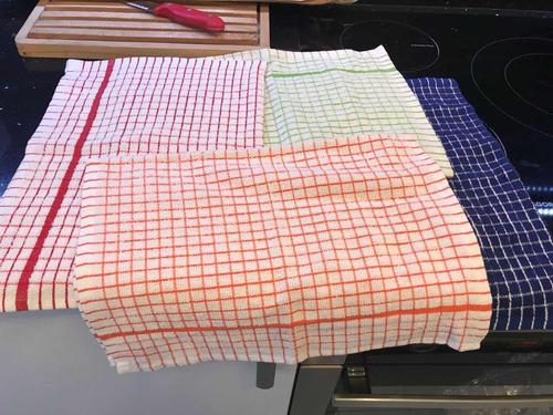 repasadores toalla ajedrez absorbentes importados x 6 unid.