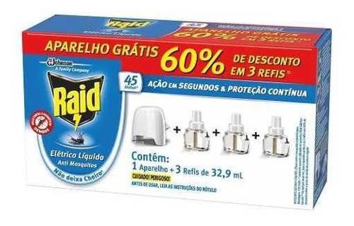 repelente elétrico raid líquido 45 noites 3 refis + aparelho