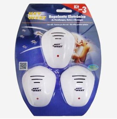 repelente eletrônico bivolt kit 3 unidades pernilongo/ratos