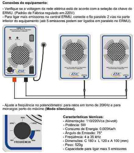 repelente eletrônico ratos morcegos turbo 900m² +5 emissores