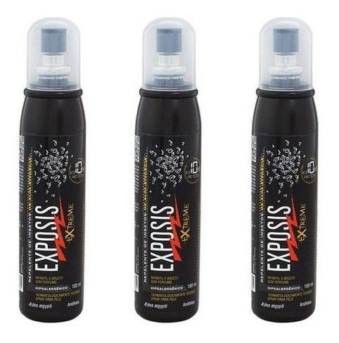 repelente exposis extreme 100ml (3 unid)