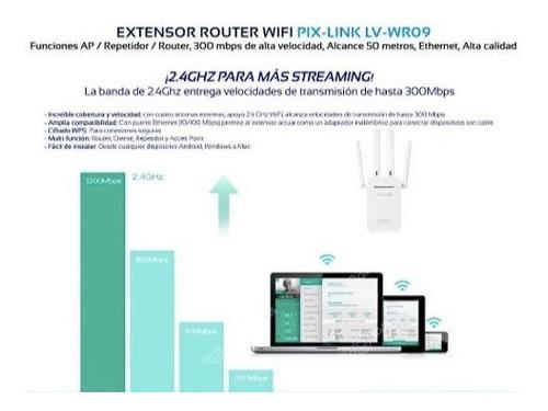 repetidor extensor router pix-link wifi 300mbps rompemuros