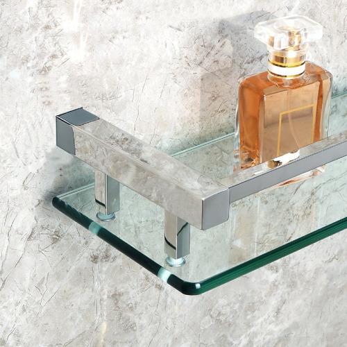 repisa cristal con soportes en acero brillado 40cm x 15cm