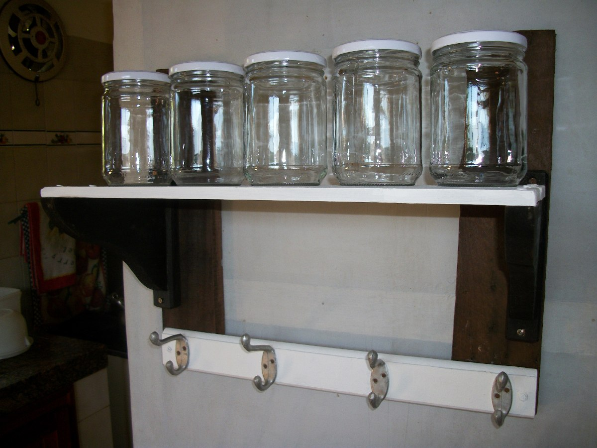 Repisa de cocina rustica 2 en 1 especias accesorios for Repisas rusticas para cocina