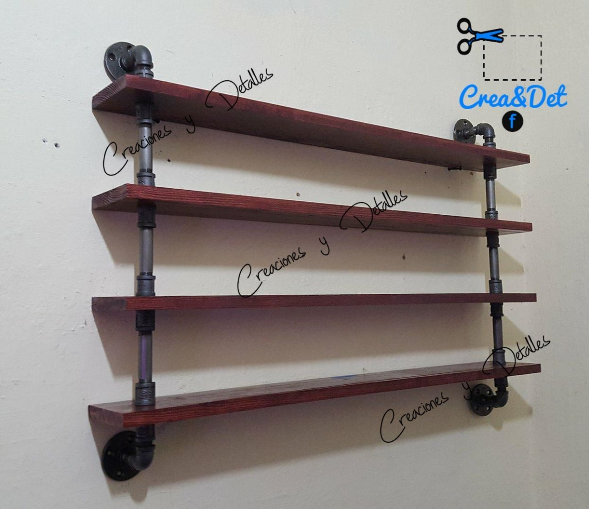 Repisa de pared 4 estantes 14x100 vintage tubo - Estantes de pared originales ...